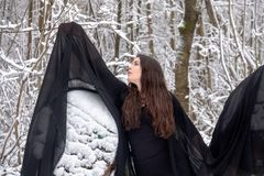 Young beautiful woman girl ballet presents herself in snowy winter forest stock image