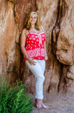 Young beautiful woman girl in mountain Royalty Free Stock Photography