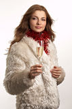 Young beautiful woman with glass of champagne Stock Images