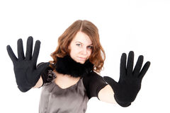 Pretty woman showing stop gesture Stock Photos