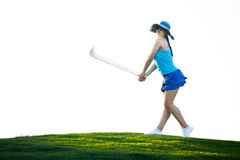 Young beautiful woman on a golf club field Royalty Free Stock Photo