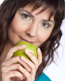 Young beautiful woman with  green apple Royalty Free Stock Photo