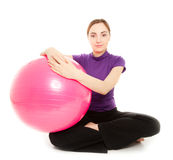 Young beautiful woman with gymnastic ball Royalty Free Stock Photo