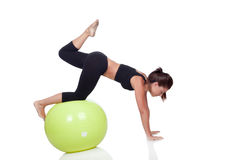 Young beautiful woman with gymnastic ball Royalty Free Stock Photography