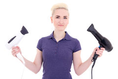 Young beautiful woman hair stylist with hairdryers isolated on w Stock Images