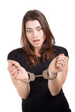 Young beautiful woman with handcuffed hands Stock Images