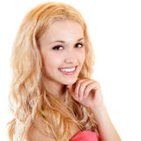 Young beautiful woman happy smiling with long blond hair. Isolated on white background Royalty Free Stock Photos