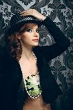 Young beautiful woman in hat Royalty Free Stock Images