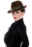 Young and beautiful woman in hat Stock Photos