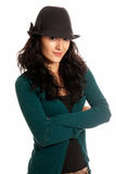 Young beautiful woman with hat arms crossed. Young beautiful woman hat arms crossed isolated on white background Royalty Free Stock Photography