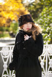 Young Beautiful Woman In in hat Stock Images