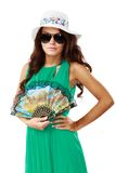 Young beautiful woman in hat and sunglasses Stock Image