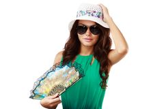 Young beautiful woman in hat and sunglasses Royalty Free Stock Photos