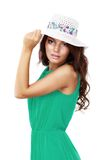 Young beautiful woman in hat and sunglasses Royalty Free Stock Photography