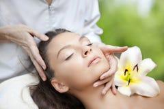 Young Beautiful Woman Having Facial Massage Royalty Free Stock Photography