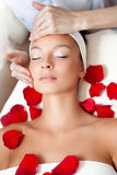 Young Beautiful Woman Having Facial Massage Royalty Free Stock Image