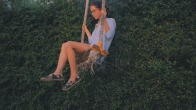 Young beautiful woman is having fun on a tropical swing in sunset light. Young beautiful woman is having fun on a tropical swing on a green leaves background in stock video