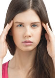 Young beautiful woman having a headache Stock Image