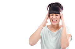 Young beautiful woman having headache migraine, on white Stock Photo