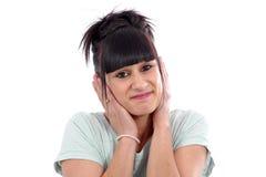 Young beautiful woman having headache migraine, on white Stock Photo