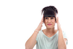 Young beautiful woman having headache migraine, on white Stock Photos