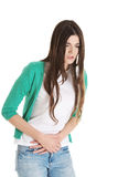 Young beautiful woman is having stomach ache. Stock Photography