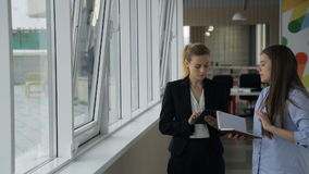 Young beautiful woman head of office listens to employee on work carried out near a window. stock video