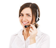 Young beautiful woman with a headset Stock Images
