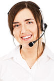 Young beautiful woman with a headset Royalty Free Stock Photo