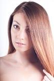 Young Beautiful Woman Headshot isolated. Headshot of Cute Girl on white Royalty Free Stock Photo
