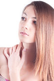 Young Beautiful Woman Headshot isolated. Headshot of Cute Girl with hand on shoulder on white Stock Photography