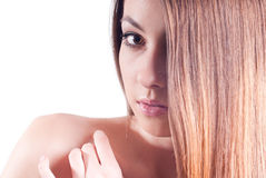 Young Beautiful Woman Headshot isolated. Headshot of Cute Girl with hand on shoulder on white Royalty Free Stock Photos