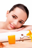 The young beautiful woman in health concept on white background Royalty Free Stock Image