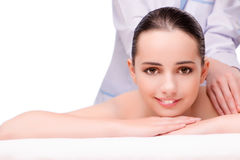 The young beautiful woman in health concept on white background Royalty Free Stock Photos