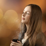 Young beautiful woman with her eyes closed Stock Photos