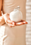 Young beautiful woman hold the apple of youth stock photos