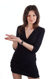 Young beautiful woman hold something in her hand Royalty Free Stock Image