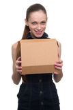 Young beautiful woman holding a box Stock Images