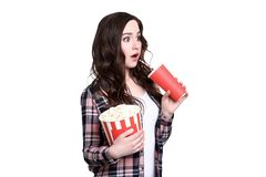 Woman holding bucket with popcorn stock photography