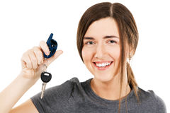 Young beautiful woman holding car keys Royalty Free Stock Photos