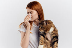 Young beautiful woman holding a cat on a light background, allergic to pets Stock Image
