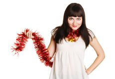 Young beautiful woman holding christmas decoration Stock Image