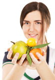 Young beautiful woman holding fresh fruits Stock Image