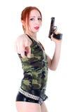 Young beautiful Woman holding Handgun Stock Images