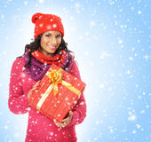 A young and beautiful woman holding a nice Christmas present Royalty Free Stock Photography