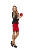 Young beautiful woman holding small red box. Studio portrait iso Royalty Free Stock Photography