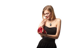 Young beautiful woman holding small red box. Studio portrait iso Stock Image
