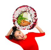 Young beautiful woman holding sushi stock images