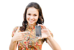 Young beautiful woman holding  touch phone with copy space isola Stock Images