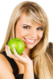 Young beautiful woman holding two apples Royalty Free Stock Image